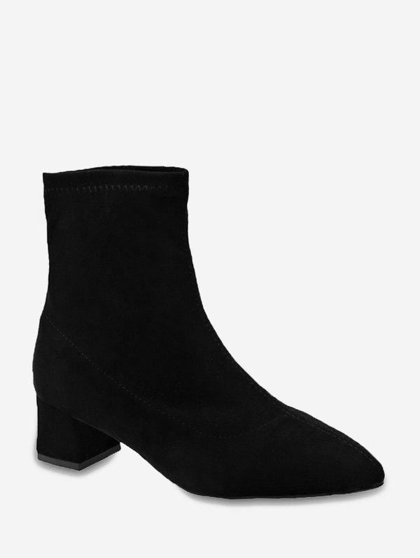 Shop Plain Slim Pointed Toe Suede Ankle Boots