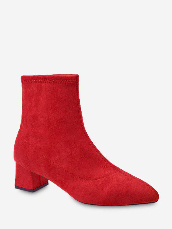 Online Plain Slim Pointed Toe Suede Ankle Boots