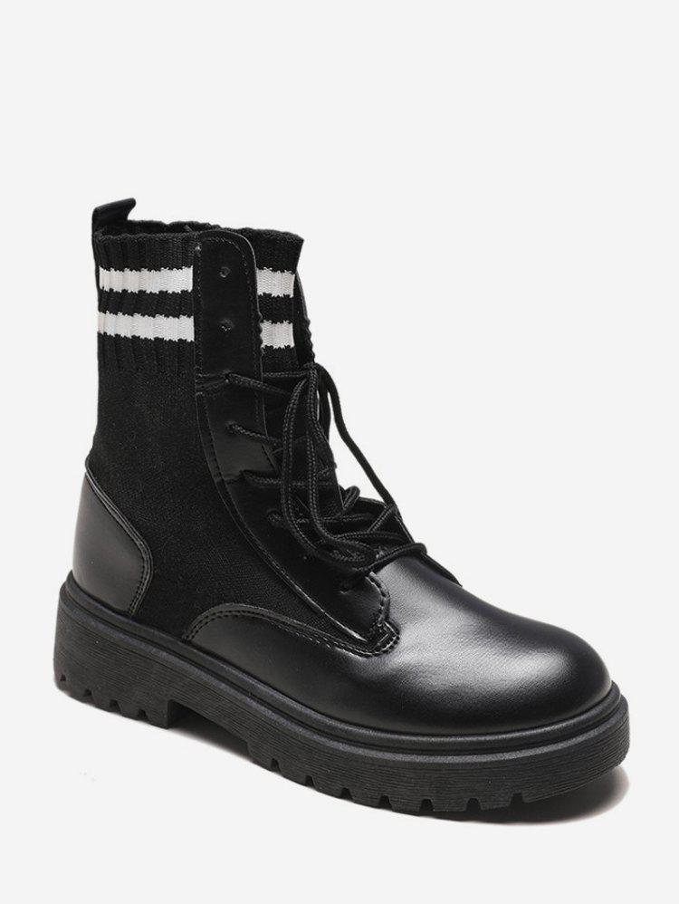 Affordable Striped Trim PU Leather Ankle Boots