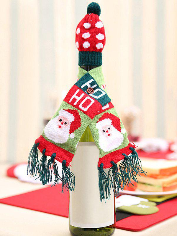 Hot Christmas Decorations Santa Claus Elk Tree Pattern Wine Bottle Hat and Scarf