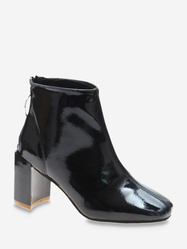 Discount O-ring Pull Square Toe PU Leather Boots