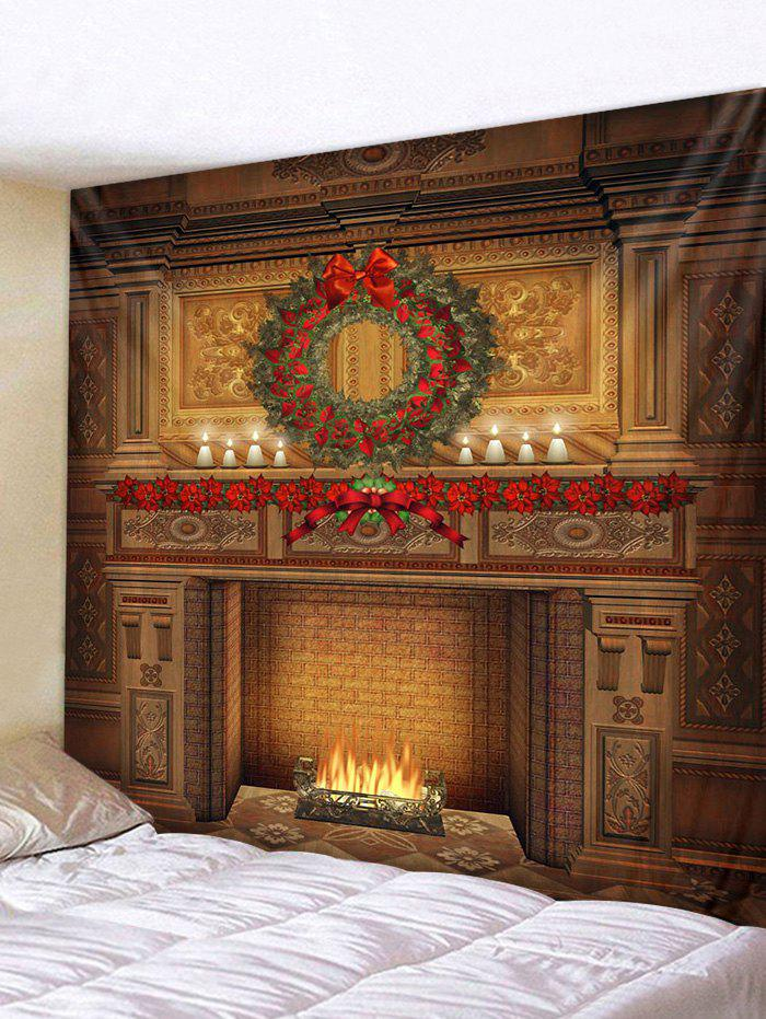 New Christmas Wreath Fireplace Printed Tapestry