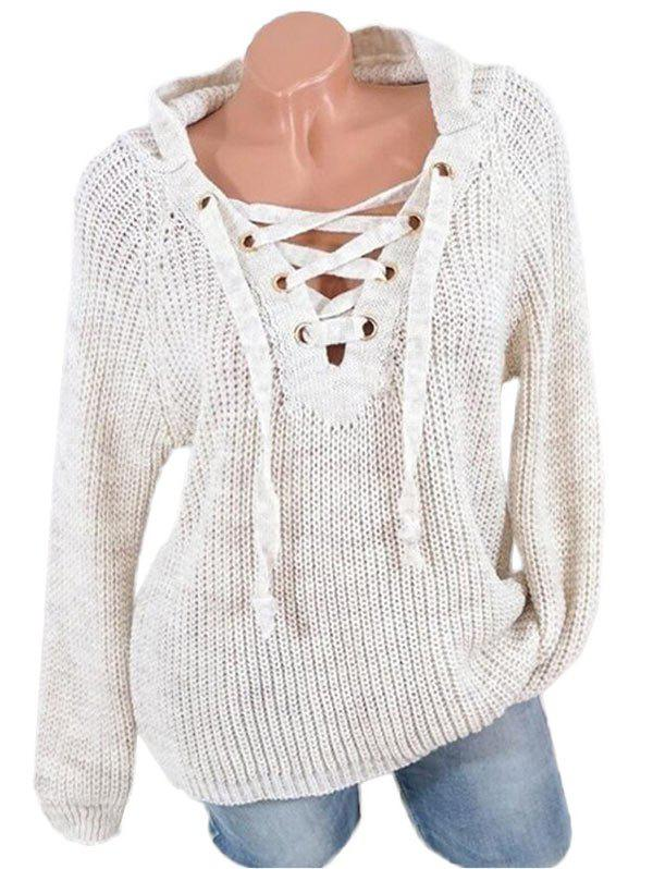 Affordable Lace Up Raglan Sleeves Hooded Sweater