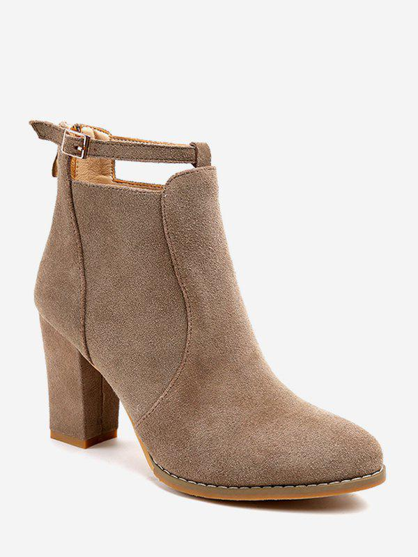 Buy Plain Buckle Strap High Heel Ankle Boots