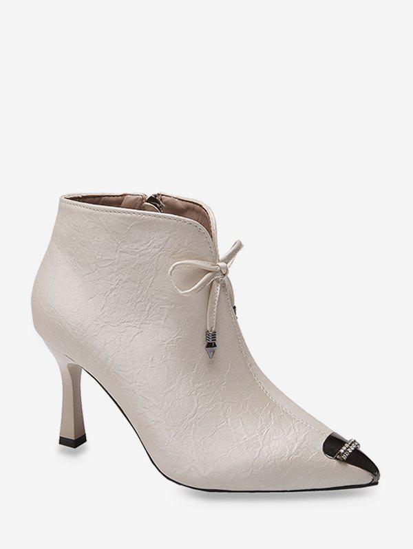 Shop Bowknot Rhinestone Pointed Toe Ankle Boots