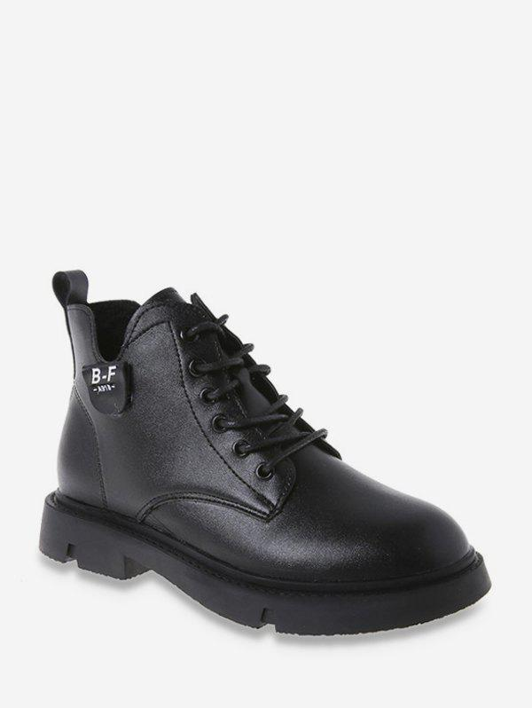 New Round Toe PU Leather Cargo Boots