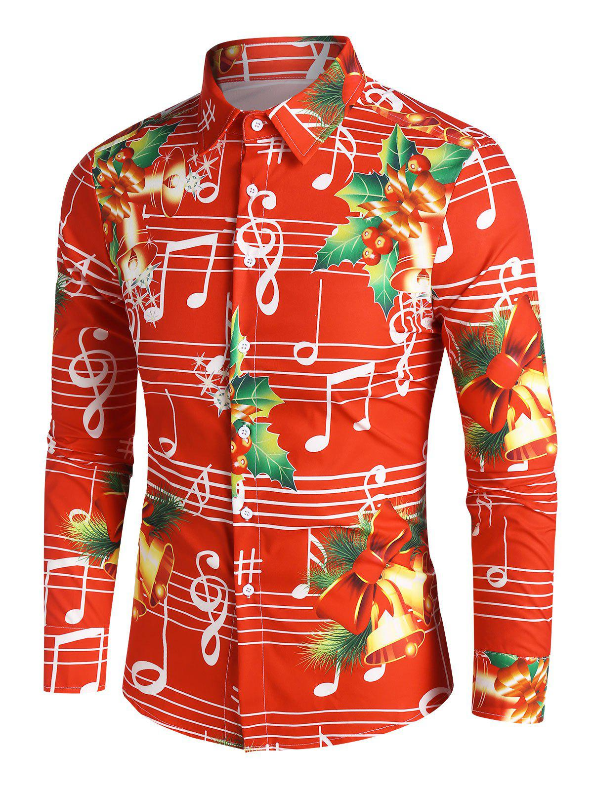 Discount Christmas Bells Music Notes Print Button Up Festival Shirt