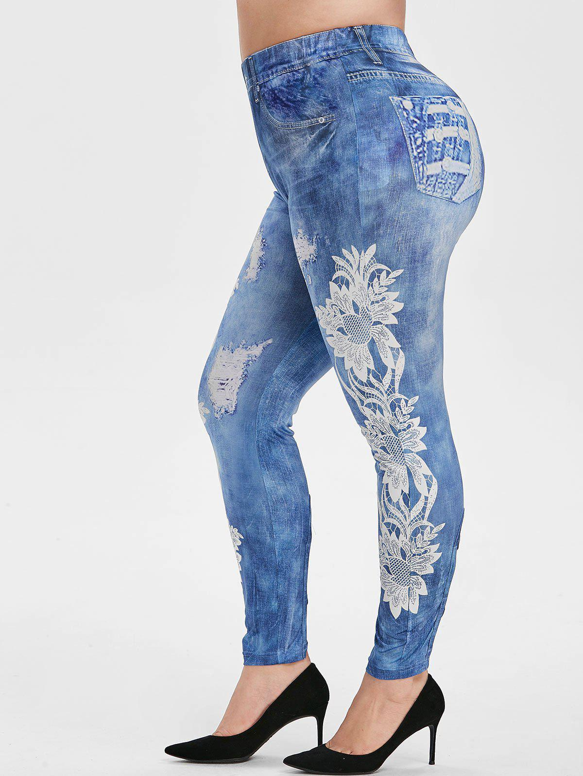 Plus Size 3D Ripped Floral Print Crisscross Jeggings фото