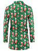 Santa Claus Pattern Button Wool Blend Coat -