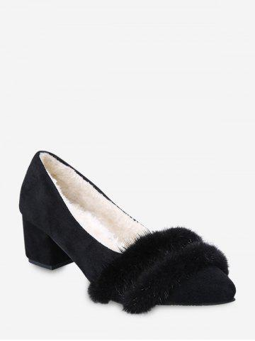 Fuzzy Panel Pointed Toe Chunky Heel Pumps