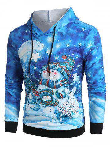 Christmas Tree Snowman Gifts Print Kangaroo Pocket Drawstring Hoodie