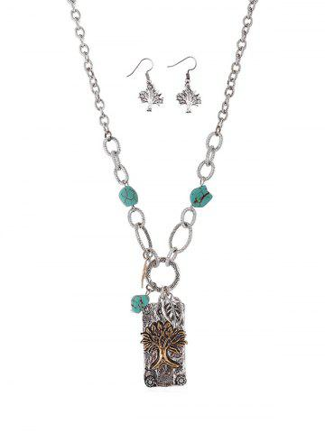 Tree Geometric Pendant Necklace and Hook Earrings