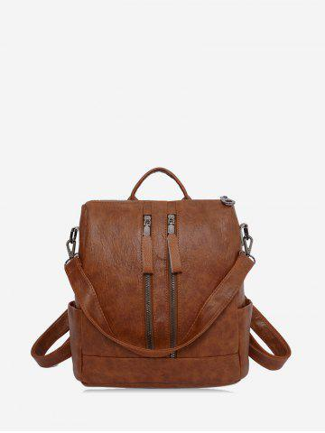 Front Zip PU Leather College Backpack