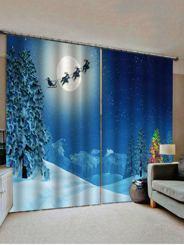 2 Panels Christmas Moon Sleigh Trees Print Window Curtains - from $21.61