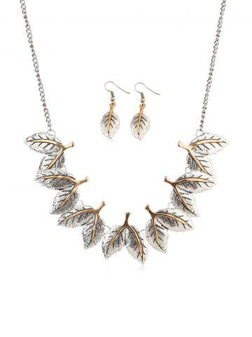 Ethnic Leaves Shape Carved Jewelry Set - SILVER