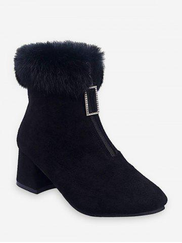 Square-pull Front Zip Chunky Heel Short Boots