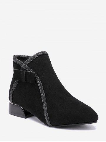 Braided Trim Fleece Chunky Heel Ankle Boots