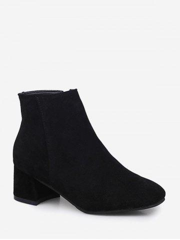 Plain Square Toe Mid Heel Ankle Boots