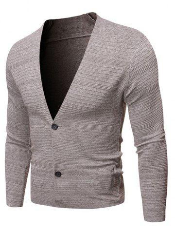 Solid Color Button Up V-neck Cardigan