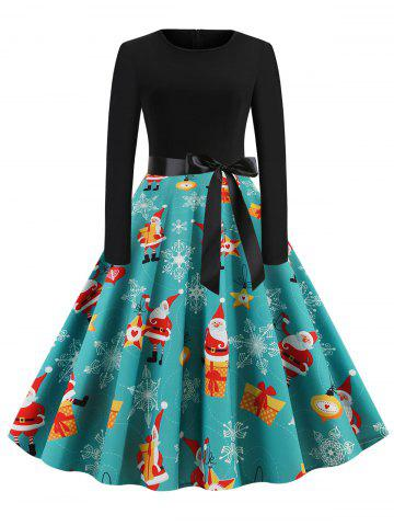 Christmas Tree Santa Claus Belted Party Dress