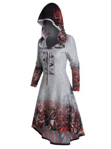 Tree Root Print Hooded Lace-up High Low Dress