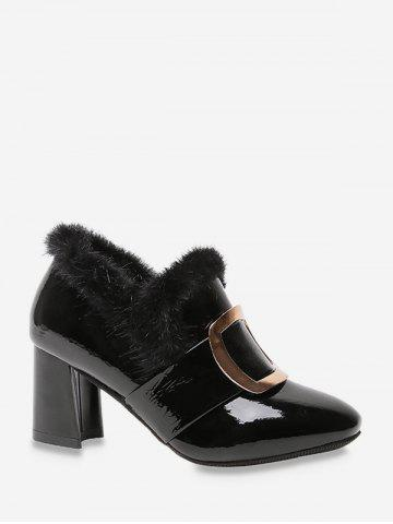 Square Buckle Fuzzy Trim High Heel Boots