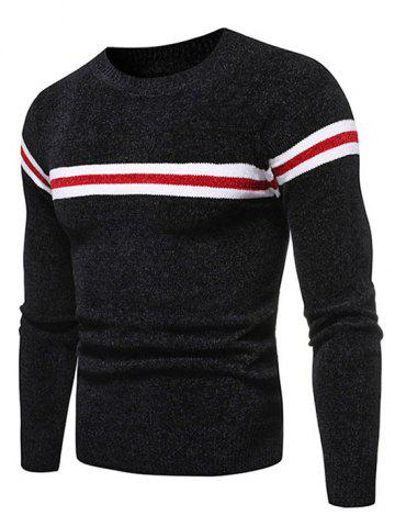 Colorblock Striped Graphic Casual Sweater