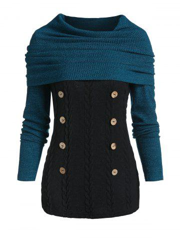 Convertible Collar Button Cable Knit Sweater
