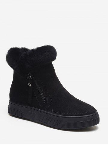 Side Zip Fuzzy Trim Ankle Boots