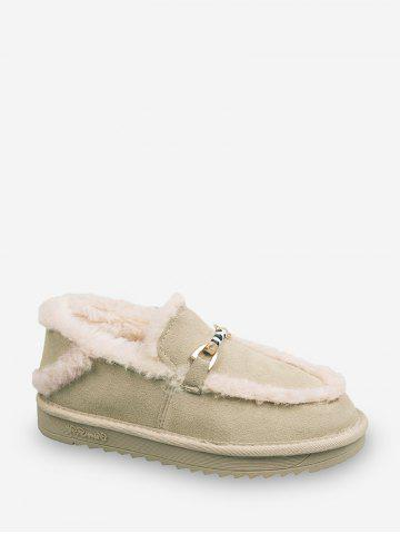 Metal Accent Fuzzy Trim Comfortable Snow Boots