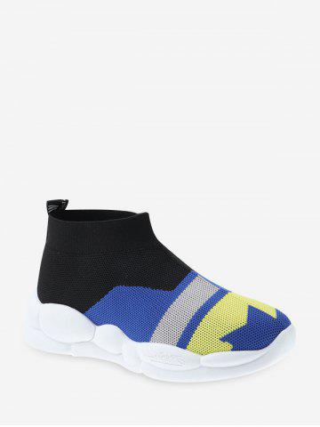 Color-blocking Knitted Mid Top Sneakers