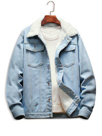 Faux Fur Lined Casual Denim Jacket