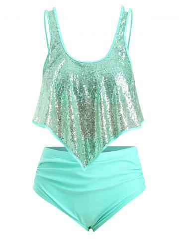 Plus Size Sequins Overlay High Rise Tankini Swimsuit - MEDIUM TURQUOISE - 5X