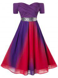 Plus Size Sequins Ruched Crossover Ombre Cocktail Dress -