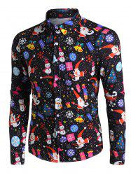 Christmas Santa Claus and Snowman Print Button Up Long Sleeve Shirt -