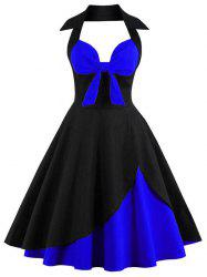 Plus Size Halter Two Tone Bow Vintage Dress -