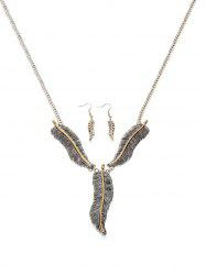 Feather Shape Pendant Jewelry Set -