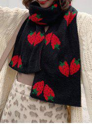 Strawberry Pattern Knitted Winter Long Scarf -