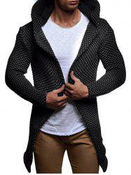 Heathered Open Front Knitted Hooded Cardigan -