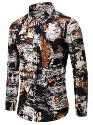 Graphic Painting Print Casual Button Up Shirt -