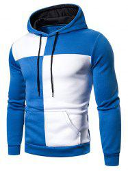Color Blocking Drawstring Kangaroo Pocket Hoodie -