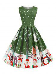 Santa Claus Snowflake Reindeer Christmas A Line Dress -