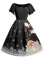 Christmas Santa Claus Snowflake Raglan Sleeve Party Dress -
