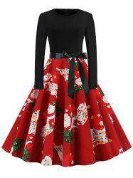Christmas Tree Santa Claus Belted Party Dress -