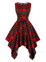Checked Belted Sleeveless Handkerchief Dress -