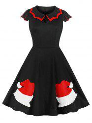 Christmas Embroidered Flat Collar Vintage Dress -