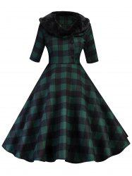 Half Button Detachable Faux Fur Collar Plaid Dress -