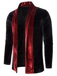 Colorblock Splicing Velour Open Front Cardigan -