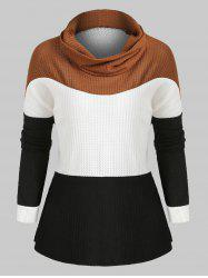 Cowl Neck Colorblock Loose Knitwear -