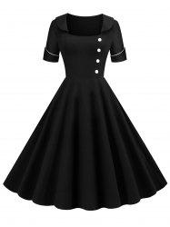 Low Cut Buttoned Contrast Piping Vintage Dress -